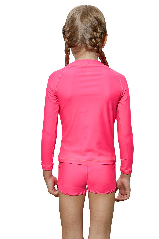 玫红色长袖防晒水上运动小女孩泳装 TZ410064