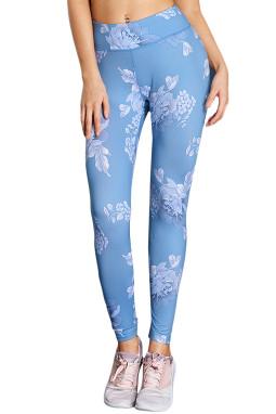 浅蓝色高腰时尚印花紧身裤