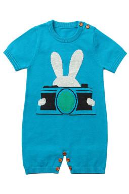 蓝色兔子摄影婴儿T恤连体衣