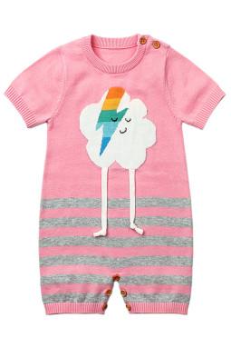 粉色可爱的云朵图案针织新生婴儿哈衣