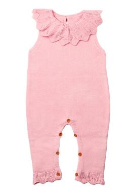 粉红色的颈环荷叶边中性婴儿连身裤