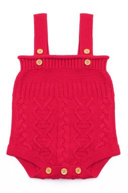 红色编织兔子尾巴婴儿哈衣