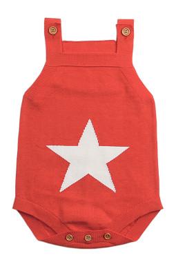 橙色星形图案针织婴儿连身衣婴儿服装