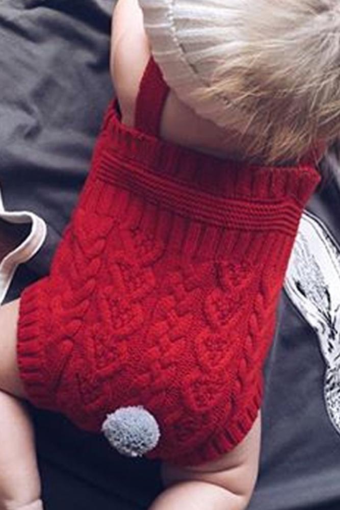 红色编织兔子尾巴婴儿哈衣 TZ18055