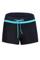 蓝色饰带黑色女式宽松泳裤