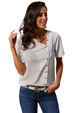 白色短袖纽扣设计宽松合身雪纺衬衫