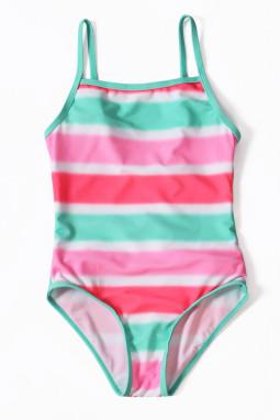 霓虹条纹褶边女孩连体泳装