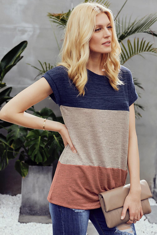 蓝色拼色醒目色块扭纹休闲女士T恤 LC251840