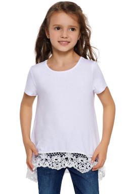 白色圆领短袖蕾丝花边高低下摆小女孩上衣