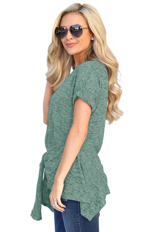 绿色侧边打结圆领短袖上衣宽松上衣 LC252023