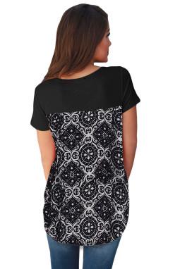 黑色交叉十字领复古花卉印花后背休闲T恤