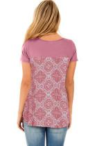 粉色交叉十字领复古花卉印花后背休闲T恤