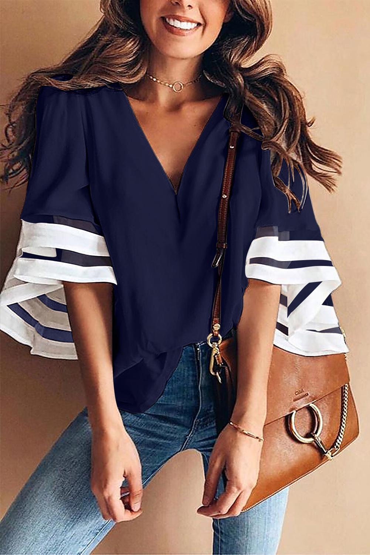深蓝色V领撞色喇叭袖宽松衬衫 LC252131