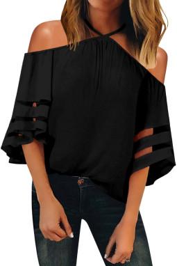 黑色挂脖露肩网纱拼接喇叭袖女式衬衫
