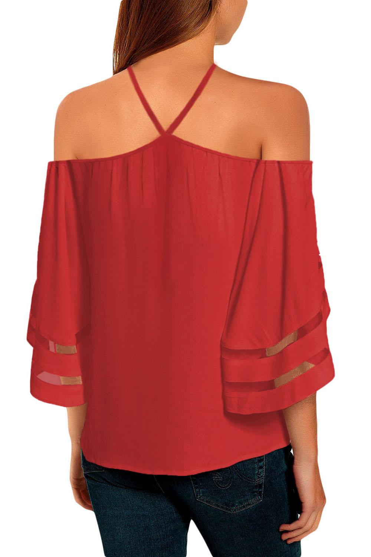 红色挂脖露肩网纱拼接喇叭袖女式衬衫 LC252097