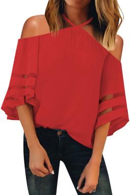 红色挂脖露肩网纱拼接喇叭袖女式衬衫