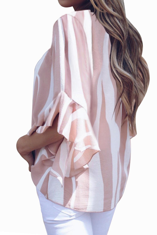 粉色时尚垂直条纹V领3/4袖衬衫 LC252269