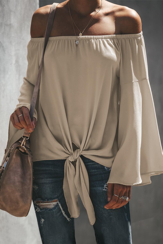 杏色一字肩喇叭袖前摆打结时尚宽松上衣 LC252250