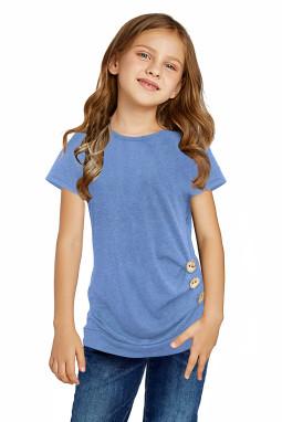 天蓝色侧面纽扣细节圆领短袖小女孩T恤