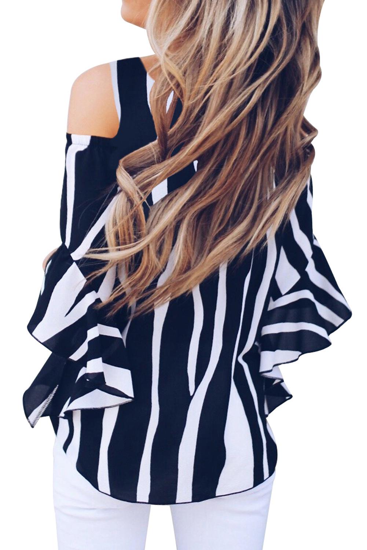 黑色冷肩垂直条纹轻盈舒适女式衬衫 LC252268