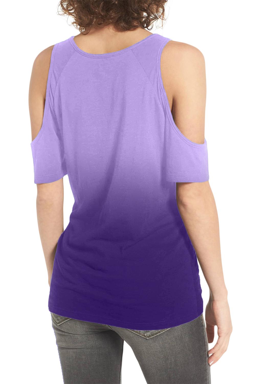 紫色渐变冷肩下摆前部打结扭纹T恤 LC252132