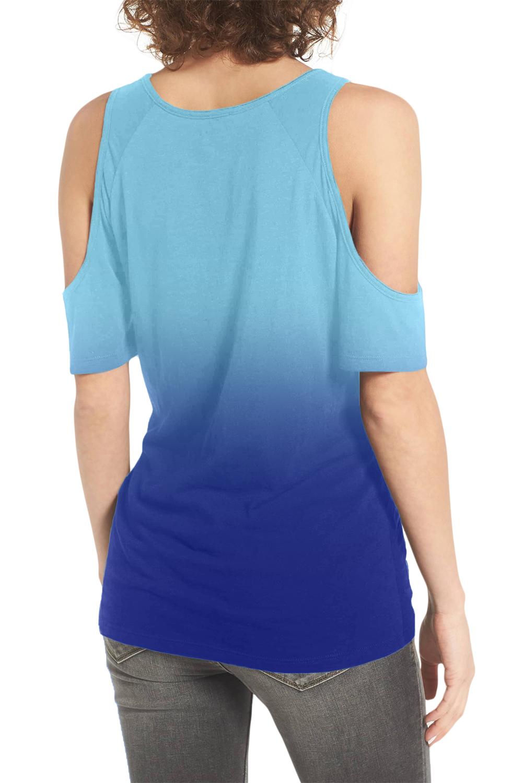 蓝色渐变冷肩下摆前部打结扭纹T恤 LC252132