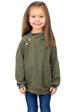 绿色侧袋休闲宽松双层连帽童装卫衣