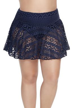 蓝色钩针编织蕾丝裙式比基尼泳裤