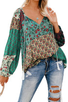 绿色花卉印花宽松长袖女式衬衫