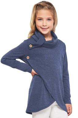 蓝色小女孩宽松高领长袖上衣
