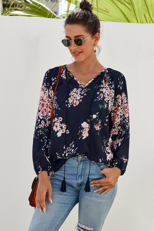 深蓝色花卉印花宽松长袖女式衬衫 LC252161