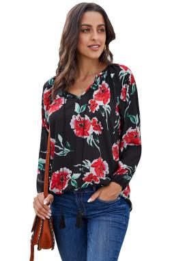 黑色花卉印花宽松长袖女式衬衫