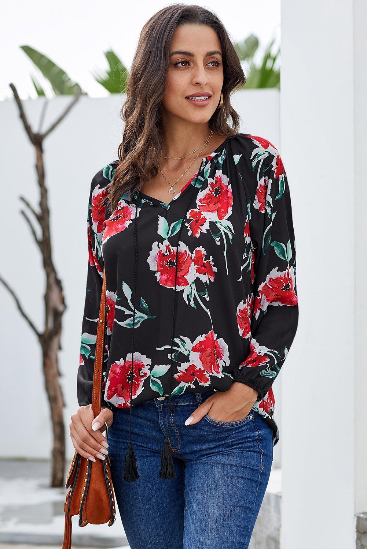 黑色花卉印花宽松长袖女式衬衫 LC252161