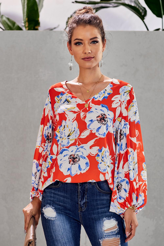 橙色波西米亚风印花灯笼袖宽松女式衬衫 LC252300