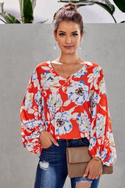 橙色波西米亚风印花灯笼袖宽松女式衬衫