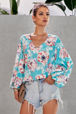 优雅波西米亚风印花灯笼袖宽松女式衬衫