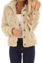 卡其色纽扣细节长袖保暖舒适外套