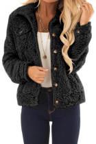 黑色纽扣细节长袖保暖舒适外套
