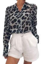 黑色长袖豹纹印花雪纺衬衫