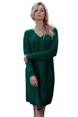 绿色V领长袖宽松可调节绑带毛衣连衣裙