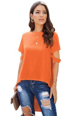 橙色圆领切口短袖高低下摆针织上衣
