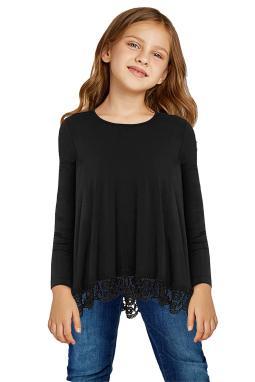 黑色蕾丝饰边圆领长袖宽松修身小女孩上衣
