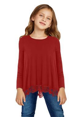 红色蕾丝饰边圆领长袖宽松修身小女孩上衣