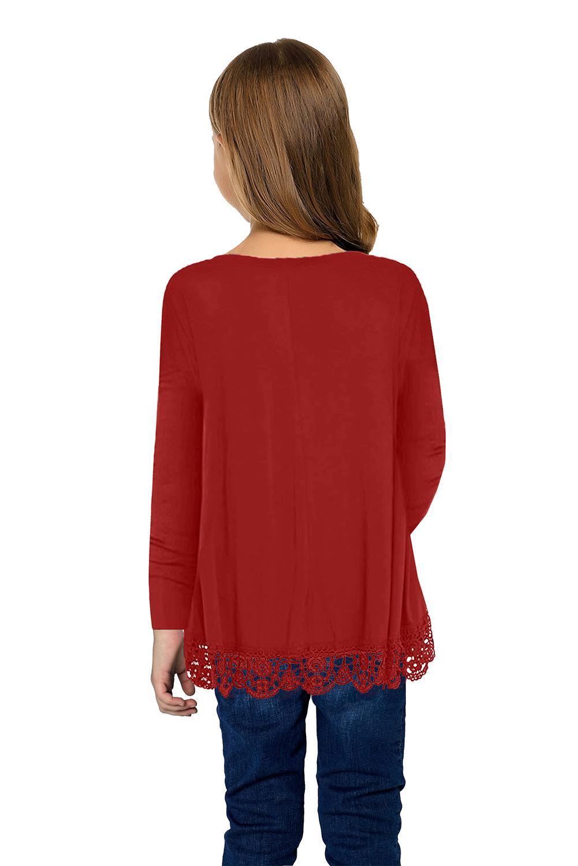 红色蕾丝饰边圆领长袖宽松修身小女孩上衣 TZ25116
