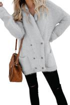 灰色温暖毛茸双排扣口袋舒适休闲长袖开襟衫