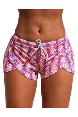 精致印花松紧系带沙滩短裤