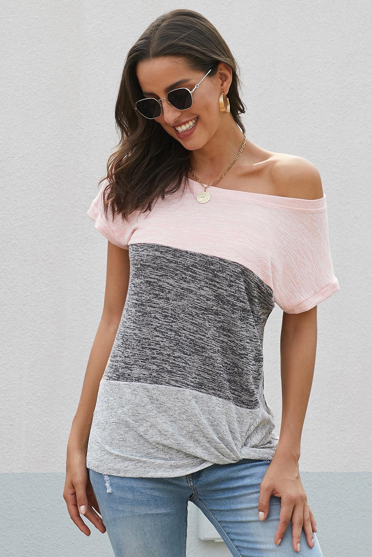 粉色拼色醒目色块扭纹休闲女士T恤 LC251840