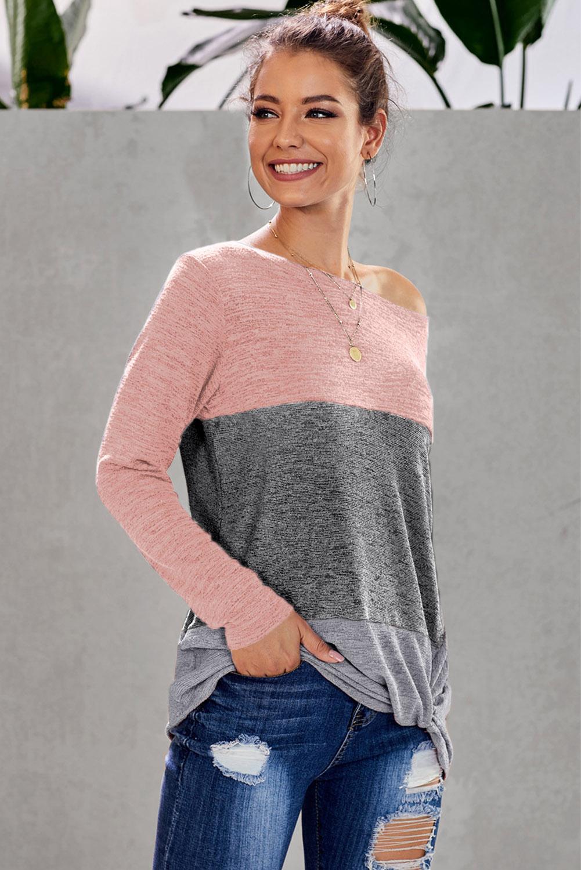粉色休闲拼色长袖套头宽松轻便束腰上衣 LC252331