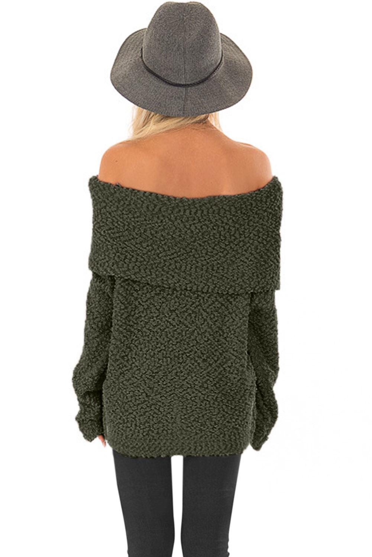 绿色露肩舒适毛衣 LC27992