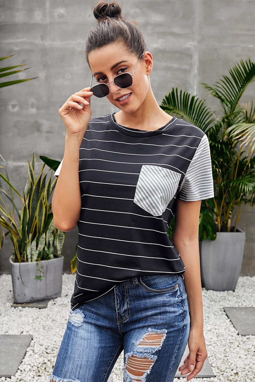 黑色休闲对比色条纹短袖T恤 LC252159
